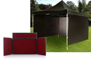 pop-up gazebo with side panels and folding dispaly boards